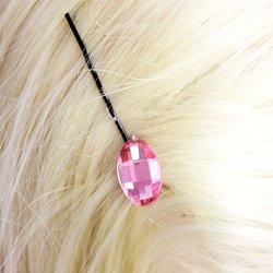 Невидимка с камнем - розовый, 1 шт