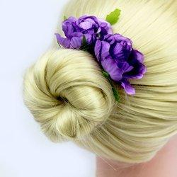 Шпилька для волос  цветок большой - сиреневый, 1 шт