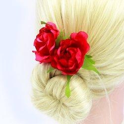 Шпилька для волос  цветок большой - розовый, 1 шт