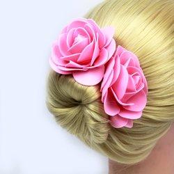 Шпилька для волос, фоамиран цветок - розовый, 9 см, 1 шт