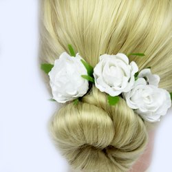 Заколка, цветок роза - белый, 5см, 1 шт