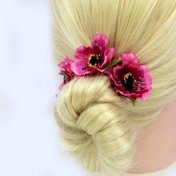 Заколка, цветок мак - малиновый, 5 см, 1 шт