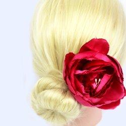 Заколка, роза бутон большой - розовый, 11 см, 1 шт