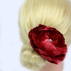 Заколка, роза бутон большой - бордо, 11 см, 1 шт