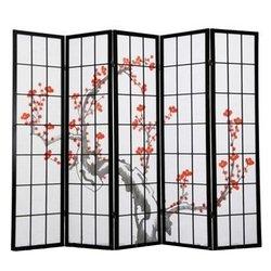 Ширма Viki - деревянный японский, 5 сегментный (черный сакура)