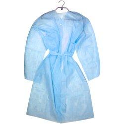 Халат Doily на кнопках с полупоясом - голубой, L-XL