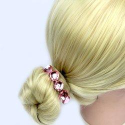 Шпилька для волос  с камнем - розовый, 1 шт