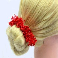 Шпилька для волос  помпончик - красный, 1 шт