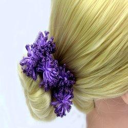 Шпилька для волос  помпончик - фиолетовый, 1 шт