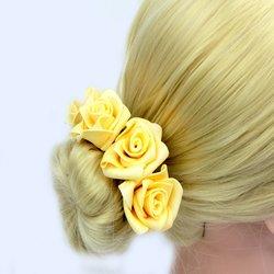 Шпилька для волос, фоамиран цветок - персиковый высокий, 4 см, 1 шт