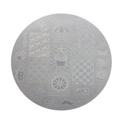 Пластина для стемпинга круглая YRE XY-G24  пластик, белый