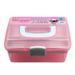 Контейнер для хранения инструментов YRE со сьемным отделением,  средний розовый
