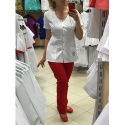 """Медицинский костюм """"ДеМур mini"""", бело-красный"""