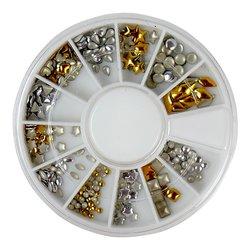 Заклепки металлические для ногтей в кассетке YRE - серебро и золото (12 шт)
