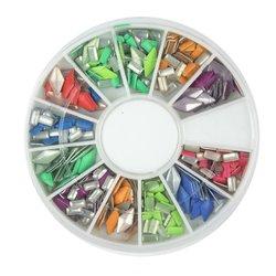 Заклепки металлические для ногтей YRE - цветные (ромб, прямоугольник)