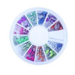 Заклепки металлические для ногтей в кассетке - цветные (кнопка, овал)
