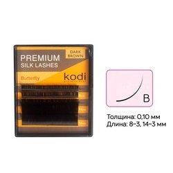 Ресницы Kodi изгиб B 0,10 6 рядов 8-3, 14-3 мм темно коричневые (20033682)