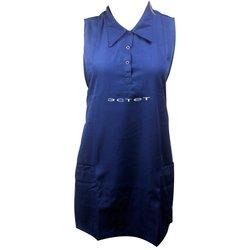 Фартук ESTET С воротничком двойной синий 2 кармана 73х78 см
