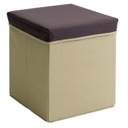 Пуфик с емкостью, коричневый-крем (3613701Ю)