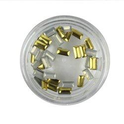 Заклепки металлические для ногтей в баночке - золото (прямоугольник)