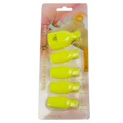 Зажим прищепка для снятия гель-лака YRE, для пальцев ног, желтый, 5 шт