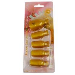 Зажим прищепка для снятия гель-лака YRE, для пальцев ног, золотистый, 5 шт