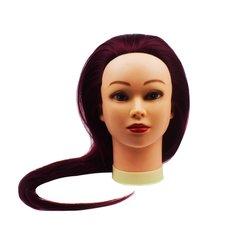 Учебная голова для парикмахера YRE Girl красно-фиолетовый 60 см