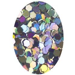 Блестка шестиугольник - серебро голографик , 2 мм