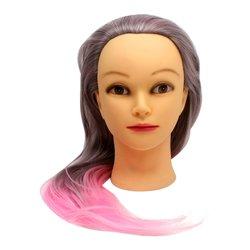 Навчальна голова для перукаря YRE Girl рожево-попелястий 60 см