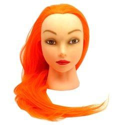 Навчальна голова для перукаря YRE Girl яскраво-помаранчевий 60 см