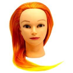 Навчальна голова  для перукаря YRE Girl жовто-помаранчевый 60 см