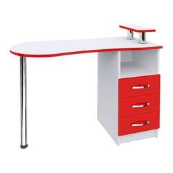 """Маникюрный стол """"Естет №2"""" MAX, белый с красным"""