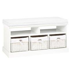 Банкетка OURE белая с подушкой (3833106Ю)