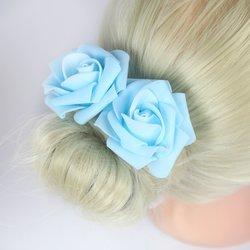 Шпилька для волос, фоамиран цветок - голубой, 5см