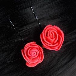 Невидимка, фоамиран цветок -  красный, 2,5см