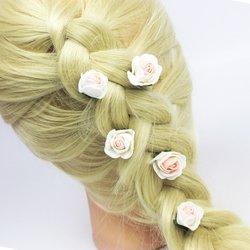 Цветы из фоамирана - бело-розовый, 1 шт