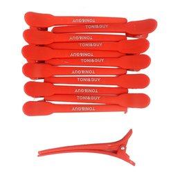 Зажимы для волос TONI&GUY 12 см пластик красный, 12 шт