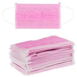 Маска защитная одноразовая нетканая, розовый, 50 шт