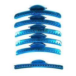 Зажим-краб для волос 12,5 см, металл голубой, 6шт
