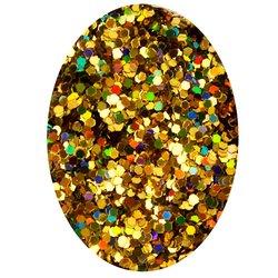 Декор в баночке блестки шестигранник STARLET, золото голографик