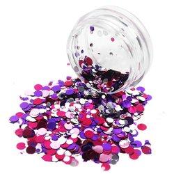 Конфетти для дизайна ногтей YRE, фиолетово-бледо-розовый- серебро