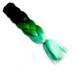 Волосы Kanekalon (t) three Viola МC47 - омбре черный-зеленый-бирюзовый