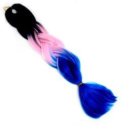 Волосы Kanekalon (t) three Viola МC42 - омбре черный-розовый-синий