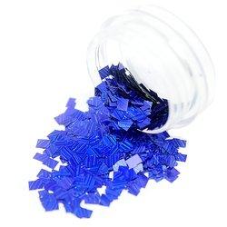 Конфетти в баночке для дизайна ногтей, прямоугольник синий голографик