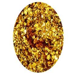 Декор фольга шестигранник в баночке - желтое золото