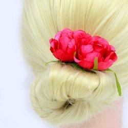 Заколка, цветок роза - малиновый, 5см, 1 шт