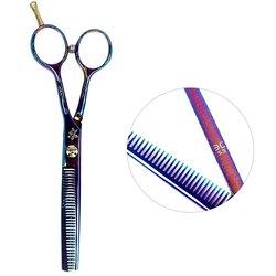 Филировочные ножницы для стрижки ESTET фиолетовый хамелеон с цветочками 5.5 ЭС
