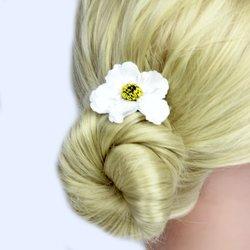 Заколка, цветок мак - белый, 5 см, 1 шт