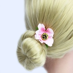 Заколка, цветок мак - розовый, 5 см, 1 шт