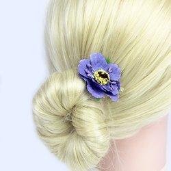 Заколка, цветок мак - фиолетовый, 5 см, 1 шт